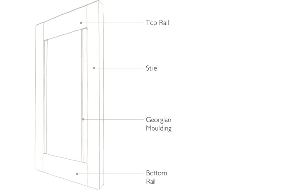 tnesc Solid Georgian shutter Technical drawing