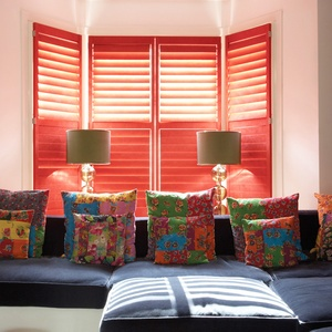 Manhattan red faux suede shutters
