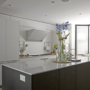 Tnesc New York kitchen shutters painted in F&B Pavillion Grey