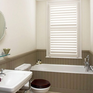 Manhattan Painted full height bathroom shutters 89mm blades