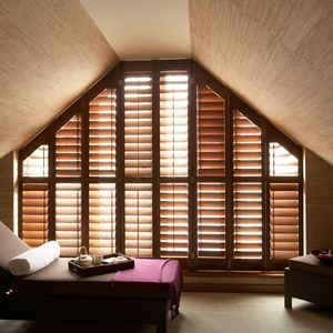 Tnesc New England Walnut Shaped shutters Hotel spa 89 mm blades