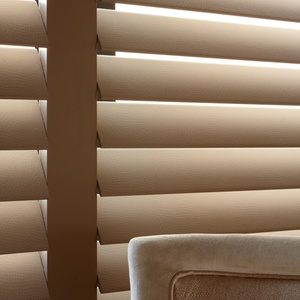 Manhattan Taupe faux leather covered shutters