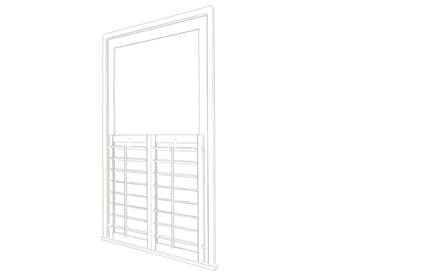 Cafe style shutters technical drawing