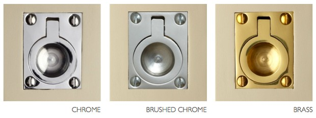 Chrome, brushed chrome and brass squash court handles