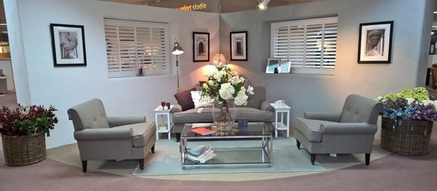 Elegant shutters in Neptune furniture display