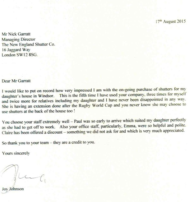 Joy Johnson Testimonial for our excellent customer service