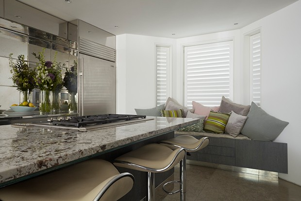 Painted shutters in the kitchen for a crisp, contemporary look