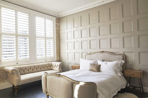panelled bedroom with New York design shutters, image courtesy of jj locations