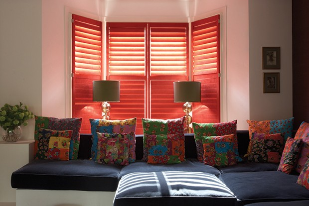 Red suede-covered Manhattan shutters