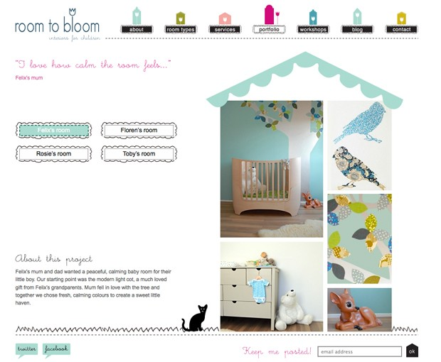 Room To Bloom, portfolio page