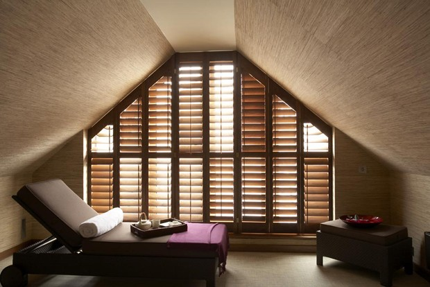 American Black Walnut shaped shutters 89mm blades, Manhattan design