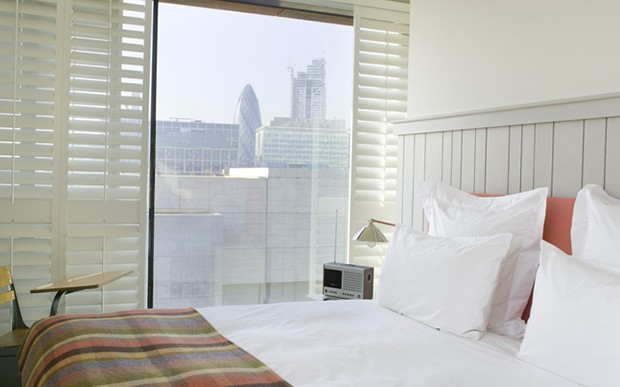 Views through the open shutters from the bedrooms at Shoreditch House