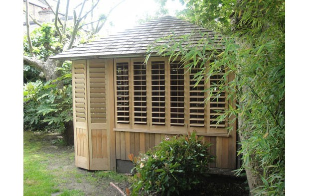 Western Red Cedar shutters, summer house