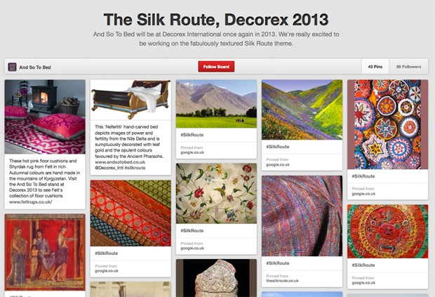 The 'Silk Route' theme for And So To Bed's stand at Decorex