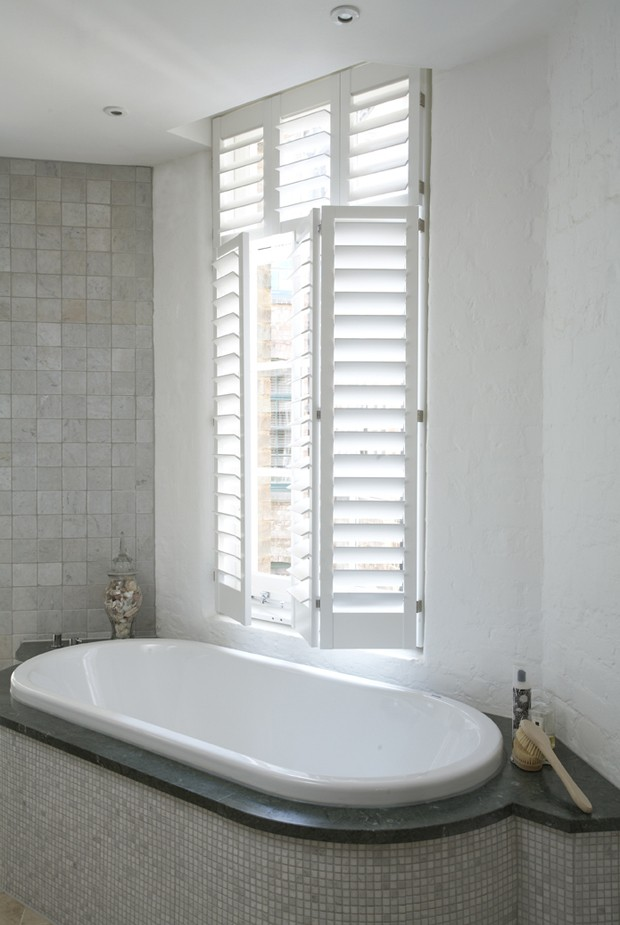Acrylic painted shutters for the bathroom