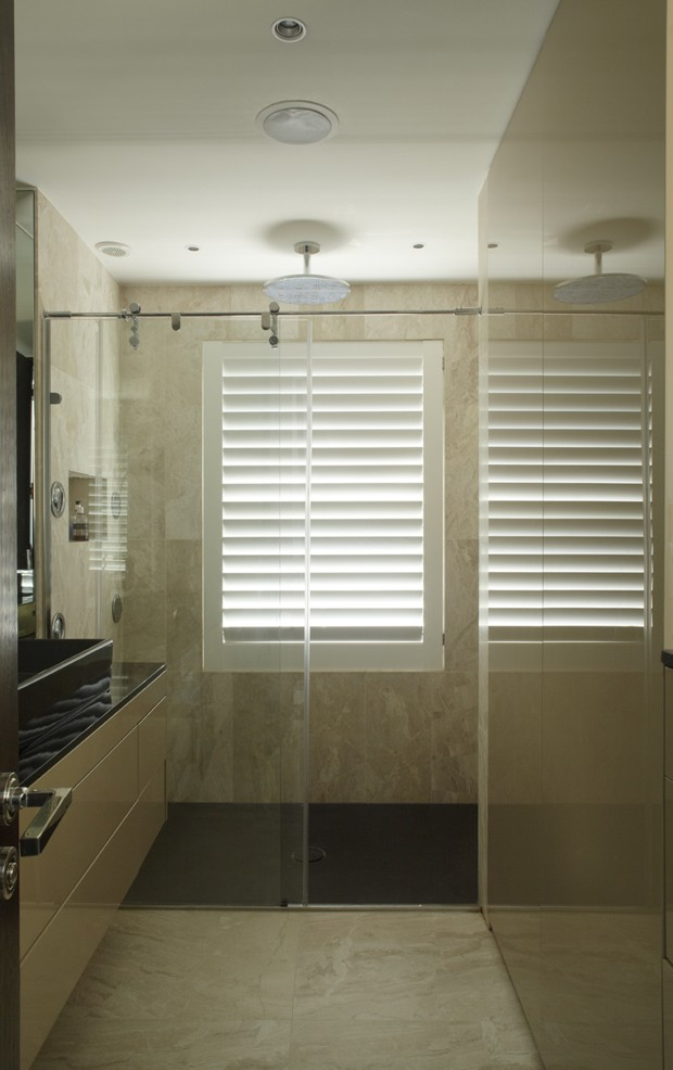 Shutters painted in water resistant paint, ideal for shower cubicles